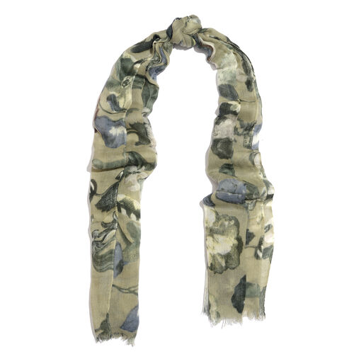 100% Merino Wool Grey, Green and Multi Colour Floral and Leaves Printed Scarf with Fringes (Size 170X70 Cm)