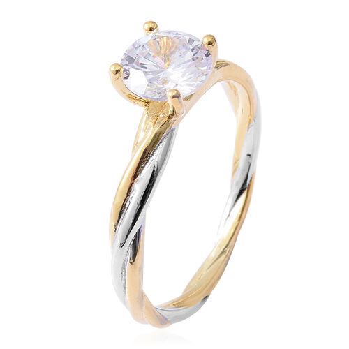 ELANZA Simulated Diamond (Rnd) Solitaire Ring in Yellow Gold and Platinum Overlay Sterling Silver