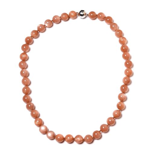 Rare Sri Lankan  Sunstone (Rnd 11-12 mm) Necklace (Size 20) with Magnetic Lock in Rhodium Plated Ste