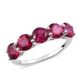 Valentine Special- Synthetic Ruby 5-Stone Look Ring in Sterling Silver 3.25 Ct.