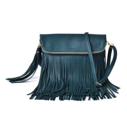 Dark Green Colour Crossbody Bag with Adjustable and Removable Shoulder Strap and Large Tassels (Size 24x19 Cm)