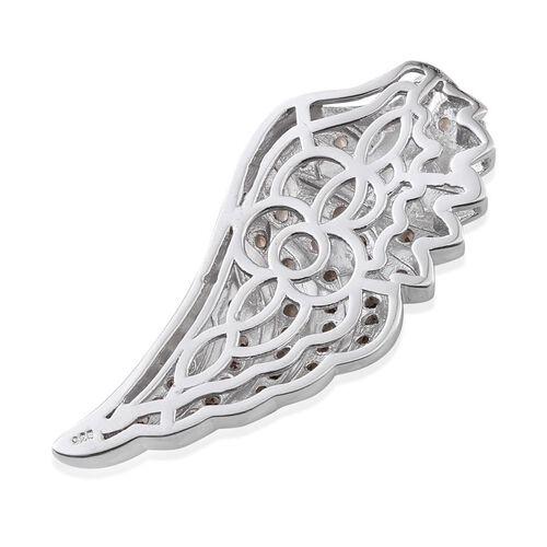 Nature Inspired Brazilian Smoky Quartz (Rnd) Angel Wing Pendant in Platinum Overlay Sterling Silver.