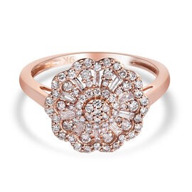 9K Rose Gold Pink Diamond Floral Cluster Ring 0.50 Ct.