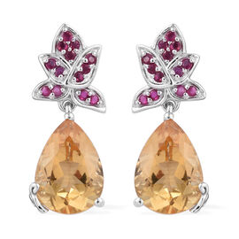 GP 5.56 Ct Citrine Multi Gemstones Drop Earrings in Sterling Silver 5.94 Grams With Push Back