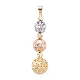 Royal Bali Collection - 9K Yellow, White and Rose Gold Pendant, Gold wt 3.40 Gms