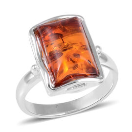 Baltic Amber (Oct) Ring in Rhodium Overlay Sterling Silver