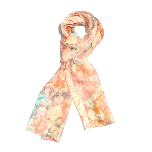 100% Mulberry Silk Orange, Off White and Multi Colour Handscreen Printed Scarf (Size 180x50 Cm)
