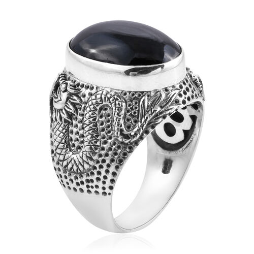 Royal Bali Collection - Boi Ploi Black Spinel (Ovl 18x13 mm) Solitaire Ring in Sterling Silver 14.80 Ct, Silver wt 11.91 Gms