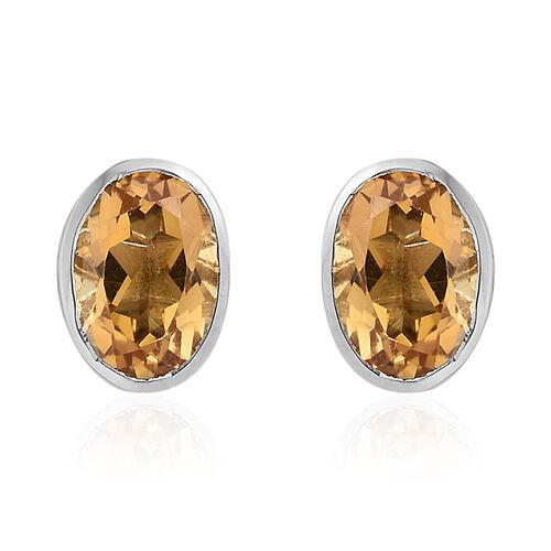 Citrine (Ovl) Stud Earrings (with Push Back) in Platinum Overlay Sterling Silver 1.50 CT