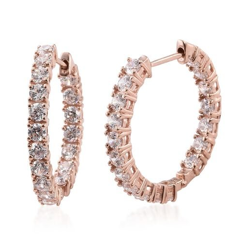 J Francis - Rose Gold Overlay Sterling Silver (Rnd) Hoop Earrings (with Clasp) Made with SWAROVSKI ZIRCONIA