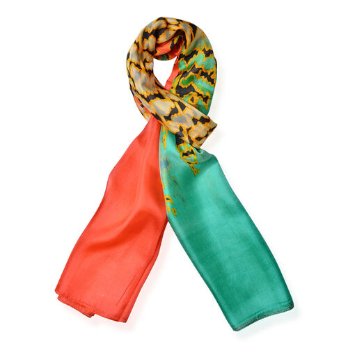 100% Mulberry Silk Orange, Green and Multi Colour Scarf (Size 170x110 Cm)