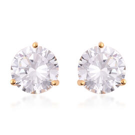 ELANZA- Swiss Star Cut Cubic Zirconia (Rnd 10mm) Stud Earrings (with Push Back) in Yellow Gold Plate