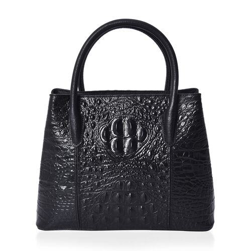 100% Genuine Leather Croc Embossed Tote Bag (Size 29x12x22.5 Cm)  - Black and Golden