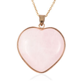 82 Carat Rose Quartz Heart Pendant with Chain in Yellow Gold Tone