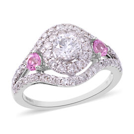 NY CloseOut Deal 1.10 Ct Diamond and AAA Pink Sapphire Cluster Ring in 14K White Gold I1 I2 GH