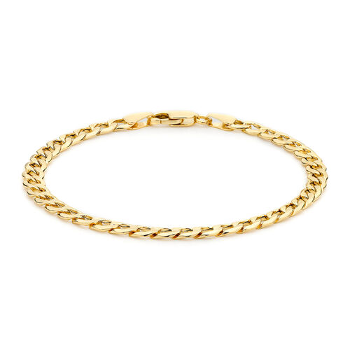 Italian Made- 9K Yellow Gold Curb Bracelet (Size 7.5)