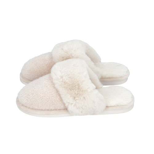 Knitted Chenille Slippers with Faux Fur (Size M: 5-6) - Ivory