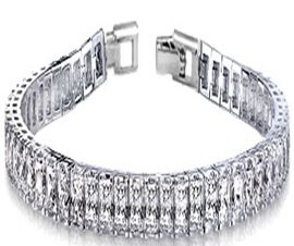 New York Close Out Deal- Cubic Zirconia Bracelet (Size 8) Princess Cut Rhodium Tone