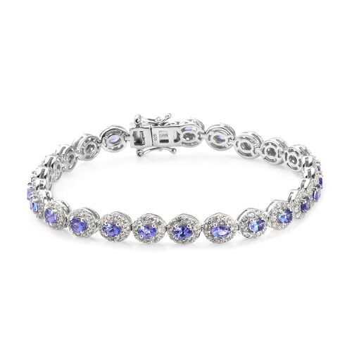 AAA Tanzanite and Natural Cambodian Zircon Tennis Bracelet (Size 7.5) in Platinum Overlay Sterling S