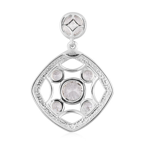 J Francis Platinum Overlay Sterling Silver Pendant Made with SWAROVSKI ZIRCONIA 2.69 Ct.