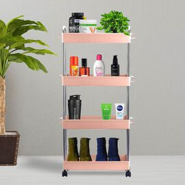 HOMESMART Four Layer Storage Rack with Handles (Size Size 40x12.5x91cm) - Pink