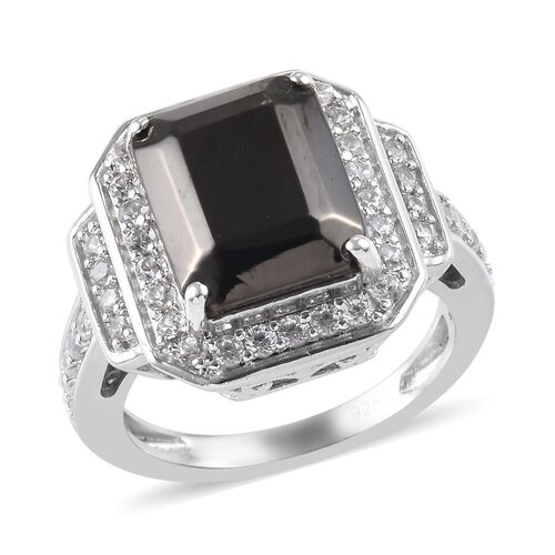 1.75 Ct Elite Shungite and Zircon Halo Ring in Platinum Plated Silver 5.04 Grams