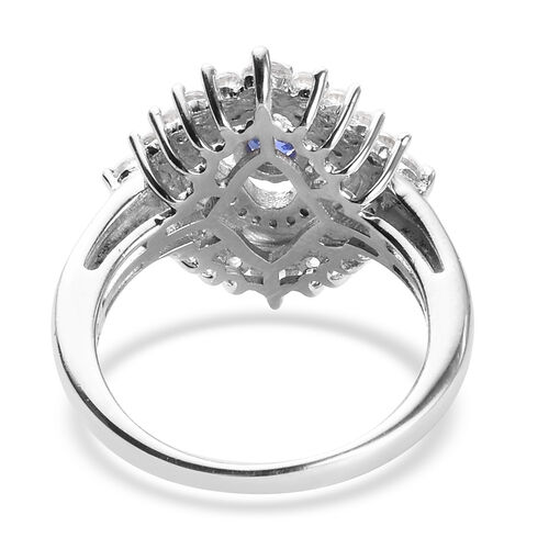 AAA Tanzanite and Natural Cambodian Zircon Ring in Platinum Overlay Sterling Silver 1.25 Ct.