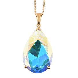 J Francis Crystal from Swarovski - Swarovski AB Crystal (Pear 40x27mm) Pendant With Chain (Size 30) in 14K Gold Overlay Sterling Silver, Silver wt 17.00 Gms.