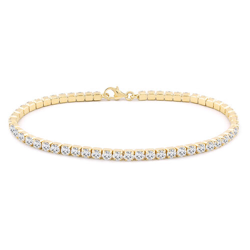 ELANZA AAA Round Brilliant Cut Simulated Diamond Tennis Bracelet (Size 7.5) in Gold Overlay Sterling Silver, equivalent diamond wt. 3.00 Ct.