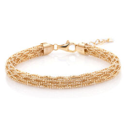 Royal Bali Collection - 9K Yellow Gold Diamond Cut Lobster Lock Bracelet (Size 7 with 1 inch Extende