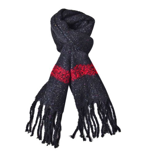New Season-Black, Red and Multi Colour Knitted Shawl with Tassels (Size 200X65 Cm)