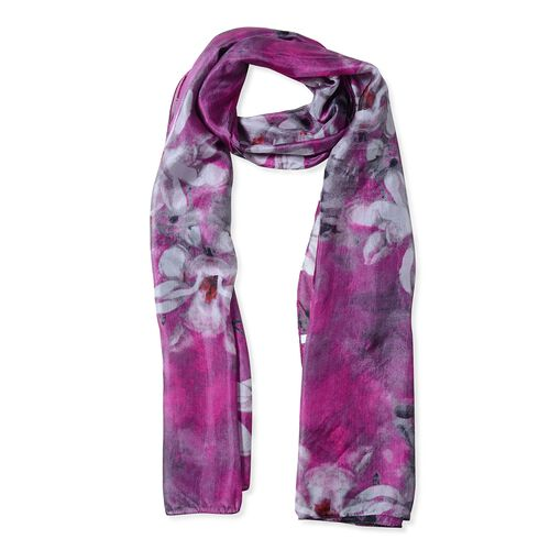 100%  Mulberry Silk Dark Pink, Black and Multi Colour Floral Pattern Scarf (Size 175x53 Cm)