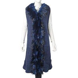 Faux Fur Collar Long Vest Cardigan with 2 Pockets (Size 106x53 Cm) Navy Blue Colour