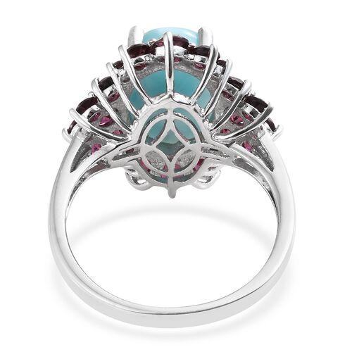 Larimar (Ovl 5.80 Ct), Rhodolite Garnet Ring in Platinum Overlay Sterling Silver 8.500 Ct.