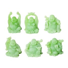 Set of 6 - Lucky Laughing Buddha Statue (Size 42x10x5 Cm) - Light Green