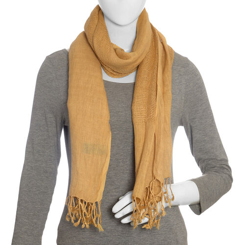 Coffee Colour Linen Handloom Woven Natural Dye Scarf (Size 180x70 Cm)