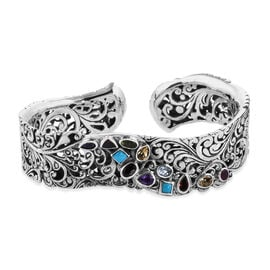 Bali Legacy 5.05 Ct Sleeping Beauty Turquoise and Multi Gemstone Cuff Bangle in Silver 7.25 Inch