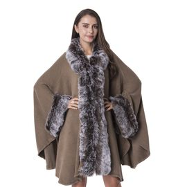High End Luxury Look Brown Colour Jacket  with Faux Fur Collar (Size 125x83 Cm)