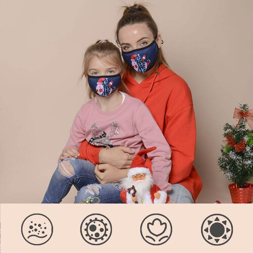 Set of 2 -  Santa Claus Pattern 100% Cotton Mask with Filter (Adult and Kid) - Blue