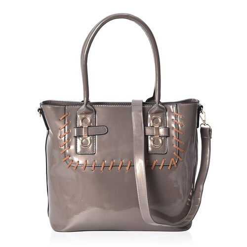 Silver Colour Tote Bag with Detachable Shoulder Strap and External Zipper Pocket (Size 39x29.5x13 Cm