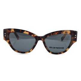 JUST CAVALLI Womens Cat Eye Yellow Tortoise Sunglasses with Strip Design on Temples