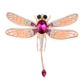 Simulated Rubellite and Multi Colour Austrian Crystal Dragonfly Enamelled Brooch in Gold Tone