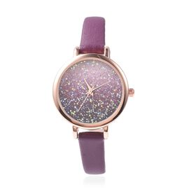 GENOA Japanese Movement Water Resistant Watch with AB Swarovski Crystals in Rose Gold Tone with Purp