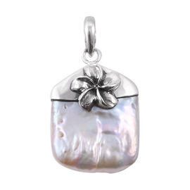 Royal Bali Collection - Freshwater Pearl Flower Pendant in Sterling Silver
