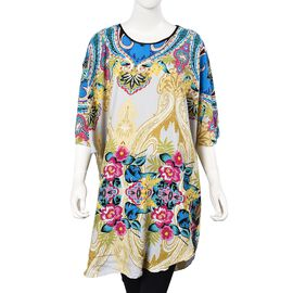 White and Multi Colour Flower Pattern Poncho (One Size Fits All; 75x90 Cm)