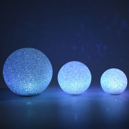LED Decorative Christmas Globe Light Set (Sizes - 15CM, 10 CM and 8 CM) - Moonlight  White
