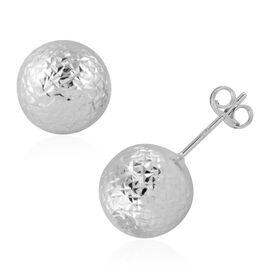 JCK Vegas Close Out- 9K White Gold Diamond Cut Stud Earrings (with Push Back)