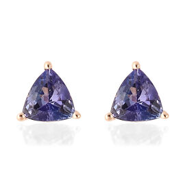 1.25 Ct Tanzanite Stud Solitaire Earrings in 14K Yellow Gold