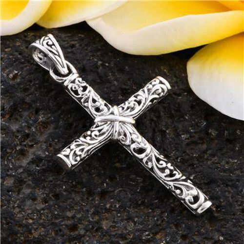 Royal Bali Collection -Sterling Silver Cross Pendant