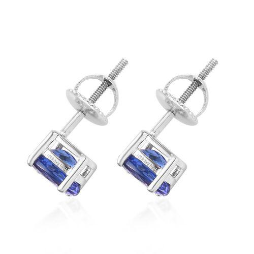 RHAPSODY 950 Platinum AAAA Tanzanite (Ovl) Stud Earrings (with Screw Back) 1.65 Ct.